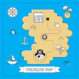 Pirate treasure. Island  map Stock Photo