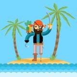 Pirate on treasure island Royalty Free Stock Photography