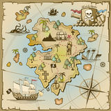 Pirate treasure island vector map Royalty Free Stock Photography