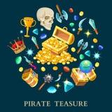 Pirate Treasure Isometric Icons Set Stock Photo