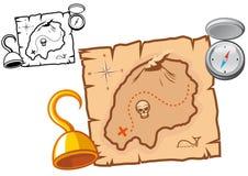 Pirate treasure map Stock Photos