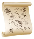Pirate Treasure map. An illustration of a pirate treasure map drawn on a paper scroll stock illustration