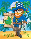 Pirate with treasure map on beach. Color illustration Royalty Free Stock Photography