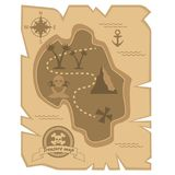 Pirate Treasure Map in flat style vector illustration