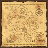 Pirate Treasure Map Hand Drawn Illustration. Treasure map and pirate emblem sailboat compass and crossed sabers on yellowed paper hand drawn vector illustration royalty free illustration