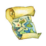 Pirate Treasure Map. Royalty Free Stock Photos