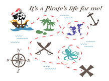 Pirate Treasure Map Illustration. A  illustration of a treasure map created in Adobe Illustrator Stock Photography