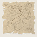 Pirate treasure map of the island on old paper. Vector Stock Images