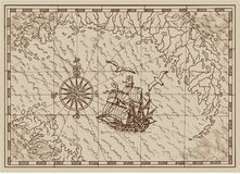 Pirate Treasure map with old ship and compass in frame Stock Image
