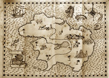 Pirate treasure map. Old treasure map used by pirates to find hidden treasure Stock Photo