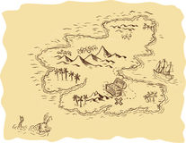 Pirate Treasure Map Sailing Ship Drawing. Drawing sketch style illustration of a pirate treasure map showing a treasure chest with x mark the sport and sailing Royalty Free Stock Photography