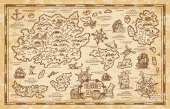 Free Pirate Treasure Map Sketch With Sea, Islands, Ship Royalty Free Stock Image - 209861306