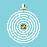 Pirate treasure maze illustration Royalty Free Stock Photo