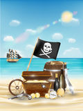 Pirate treasure on a sand beach with bright sea Stock Photography