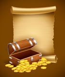 Pirate treasures in trunk and old script. Eps10  illustration Stock Image