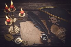 Treasure map with copy space mock up. Pirate table. Pirate tresure map paper page, compass, captain hat, seashell and feather pen with inkwell on the old table royalty free stock photography