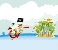 Pirate tropical beach vector illustration Stock Images