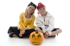 Pirate Twins!. Young Pirate Twins Ready to Pillage and Plunder Royalty Free Stock Image