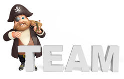 Pirate with Vailen & team sign Stock Photo