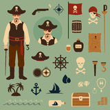 Pirate. Vector pirate set icons, treasure, map,skull illustration Stock Photography