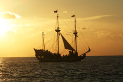Pirate vessel. A pirate ship at grand cayman at sunset time stock photography