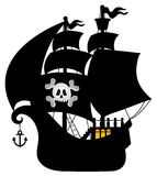 Pirate vessel silhouette theme 1 Stock Photography