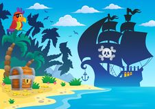Pirate vessel silhouette theme 4 Stock Photos