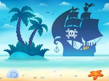 Pirate vessel silhouette theme 2 Royalty Free Stock Photos