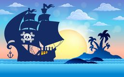 Pirate vessel silhouette theme 5 royalty free illustration