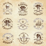 Pirate vintage Logos Royalty Free Stock Photography