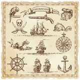 Pirate Vintage map illustration elements Royalty Free Stock Photos