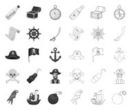 Pirate, voleur de mer mono, icônes d'ensemble dans la collection réglée pour la conception Tr?sors, Web d'actions de symbole de v illustration stock