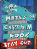 Pirate warning for mates. Warning to stay out for mates of captain kook Stock Photo
