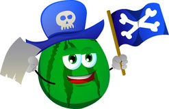 Pirate watermelon with blank paper and pirate flag Stock Images