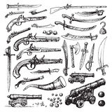 Pirate weapons. Vector set of illustrations featuring various historic weapons used in pirate and military ships and by soldiers; swords, daggers flint lock Royalty Free Stock Images