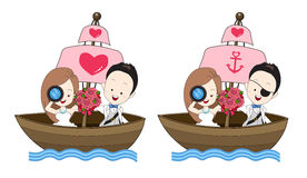Pirate wedding vector cartoon, bride and groom hold a flower bou. Quet and standing on a boat with sea theme on white background Royalty Free Stock Photography