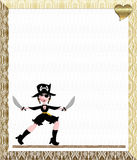 Pirate Wench. Holds 2 swords, as she walks the plank! Dressed in a cross bones hat and eye patch Stock Photos