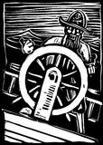 Pirate at the Wheel vector illustration