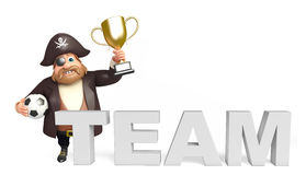 Pirate with Winning cup & football,team sign Stock Photos