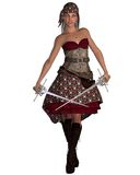 Pirate Woman with Bandana. Dark-haired smiling female pirate with twin rapiers and bandana, 3d digitally rendered illustration Royalty Free Stock Images
