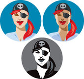 Pirate woman icon Royalty Free Stock Images