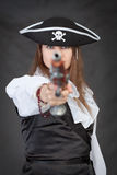 Pirate woman with old pistol Royalty Free Stock Image