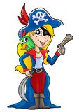 Pirate woman with parrot. Color illustration Stock Photos