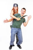 Pirate woman threatening a man Royalty Free Stock Images