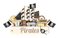 Pirate wood board with pirate ship compass gold coin rum barrel treasure box flag gun eye patch Royalty Free Stock Image