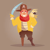 Pirate with a wooden leg and a parrot. Vector. Cartoon.  art on white background. Flat Royalty Free Stock Photos