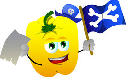 Pirate yellow bell pepper with blank paper and pirate flag Royalty Free Stock Image