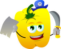 Pirate yellow bell pepper with blank paper and sword Stock Image