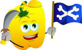 Pirate yellow bell pepper with sword and pirate flag Royalty Free Stock Image