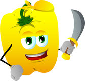 Pirate yellow bell pepper with sword Royalty Free Stock Image